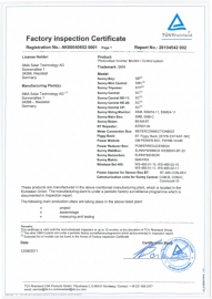 Certificato Factory Inspection SMA!